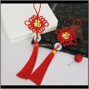 Kunst und Kunsthandwerk 2 stück segne chinesische Knoten Quaste Keychain Caps Riemen Vorhang DIY Schmuck Machen Charms Anhänger Zubehör Handwerk TAS VYLHT