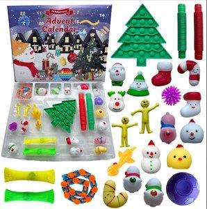 24 Dias Fidget Toys Advent Calendário 24 pcs / set Christmas Contagemday Cega de brinquedos cegos Caixas de crianças Presentes Festa Favor Mar Transporte marítimo Ooa-