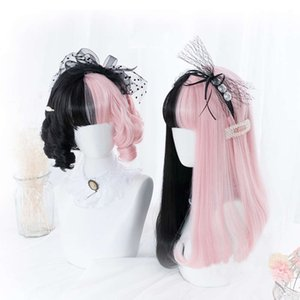 Shangke Pink Black Blond White Synthetic Lolita Long wig With Pony Genshin Impact Cosplay Water Wave Wigs For Women