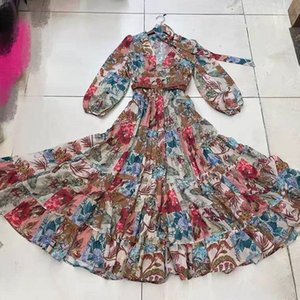 High Quality Designer Sexy Women Floral Printed Runway Dresses V Neck Long Sleeve With Belt Female Slim Midi Milan Evening Party Dress E15-1