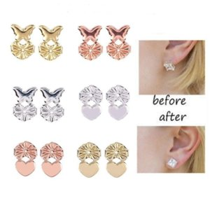 studs Backs Support Heart Shape Lifts Fits all Post Set Gold Color Earrings Jewelry Accessories