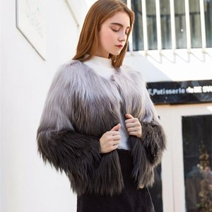Autumn faux mink leather jacket womens Gray-black gradient fur leather coat women slim jackets jaqueta de couro fashion