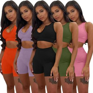 Women's Tracksuits 2021 Summer Women Shorts Two Piece Set Quality Yoga Fitness Biker And Crop Top Off Shoulder Short Ribbed