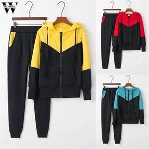 Womail Eşofman Kadınlar Fermuar Rahat Sportwear Kadın Takım Elbise Uzun Kollu Hoodies Kazak + Pantolon İki Adet Fitness Spor 917