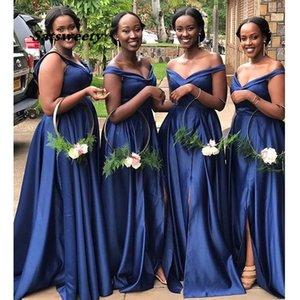 Kapalı Omuz Afrika Nedime Elbisesi Donanma Mavi Basit Saten Robe De Soiree Uzun Hizmetçi Onur Kadın Parti Elbiseler
