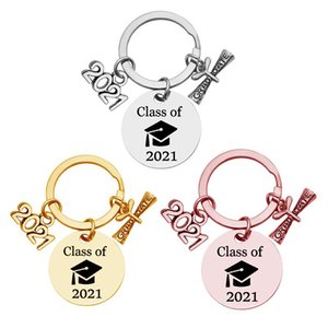 2021 Stainless Steel Keychain Pendant Class Of Graduation Season Buckle Plus Scroll Opening Ceremony Gift Key Ring 30MM