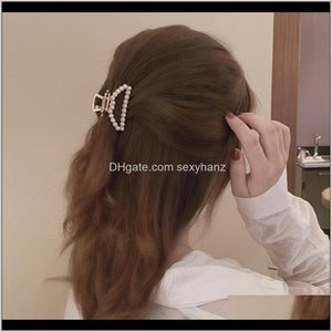 Clamps Simple Metal Pearl Grip Elegant Temperament Back Of The Womens Small Half Hairpin Head Cjm2N 1A36F