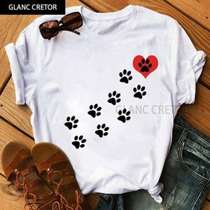 Red Heart Dog Print T Shirt Female Short Sleeve Tee Shirts Ladies Cute T-shirt Tops Fashion Women Summer Casual Women's