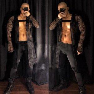 Stage Wear Nightclub Rave Clothes Sexy Men Dj Pole Dance Clothing Gogo Costume See-through Net Long Cloak Tights Clubwear XS2823