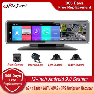 "Canal 12 ""4G Android 9.0 Car DVR Dashcam ADAS Center Console Mirror GPS WIFI FHD 1080P Super Night Lente trasera Video Recorder DVRS"