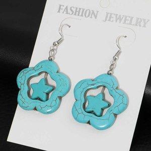 women's Stars and flowers Tibetan silver Turquoise Charm earrings GSTQE030 fashion gift national style women DIY earring
