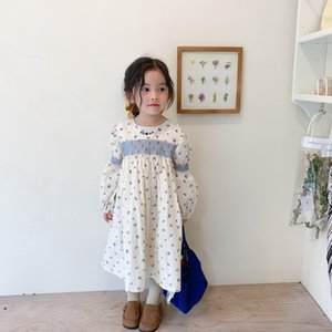 2021 Korean Style New Spring Kid Girls Dress Long Puff Sleeves Embroidery Floral Princess Dresses Children Outwear Clothes E1033