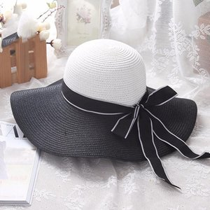 Fashion Large Brim Sriped Hat Straw Beach Sun Summer Bow Sunhat Bow-Knot Wide Hats