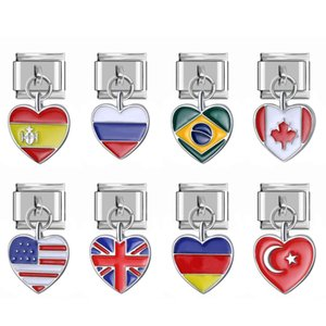 Four 9mm Width Original Daisy Heart World UK US CA TY BR AU FR RU Flag Italian Charm Bracelet Link Beads
