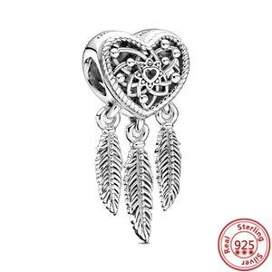 925 Ayar Gümüş Tüy Ayı Tilki Erkek Kız Rüya Catcher Yıldız Ay Dangle Boncuk Fit Orijinal Pandora Charms Bilezik Takı