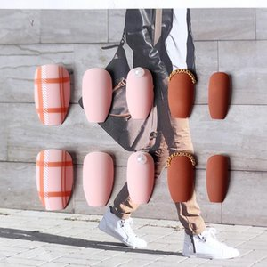 False Nails 24pcs French Plaid Printed Nail Tips With Glue Mid Length Ballerina Coffin Acrylic Finished Art Patch