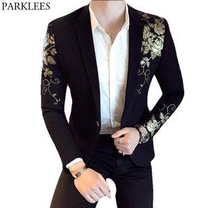 Gold Flower Print One Button Blazer Jacket Men Brand New Party Wedding Festival Stylish Slim Suit Blazer Men Costume Homme 201104
