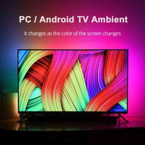DIY Ambient TV PC Dream Screen USB Светодиодная полоса HDTV Computer Monitor Подсветка Addressable WS2812B Светодиодная полоса 1/2 / 3/4 / 5M Полный набор 210429