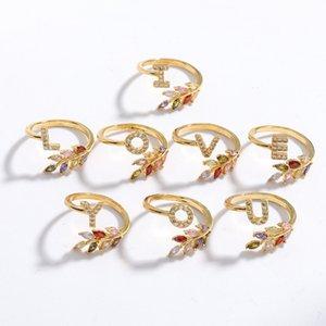 KIMTER Femmes Silver Réglable Strass Anneau A - Z Lettres Nom Anneaux Bande d'alphabet Colorful Crystal Feuille pour couple Q199FZ