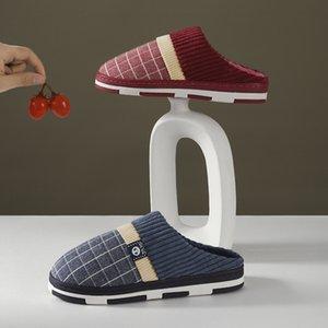 Zapatillas de algodón de felpa zapatos para el hogar de interior TPR de invierno con el fondo del tendón LJWS