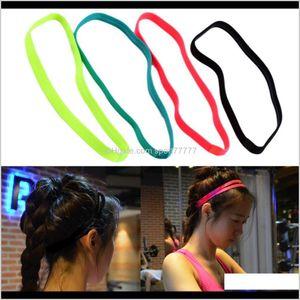 Fitness Supplies & Outdoors Drop Delivery 2021 Women Men Hair Bands Sports Headband Anti-Slip Elastic Rubber Sweatband Football Yoga Running