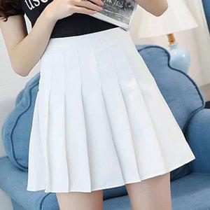 Skirts Women High Waist Pleated Skirt Sweet Cute Girls Dance Mini Cosplay Black White Fashion Female Short #25
