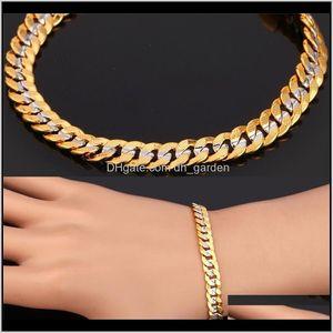 6Mm Stamp Menwomen 18K Two Tone Gold Plated Curb Chain Necklace Bracelet Set Ps1605 Bftis Mk4Rp