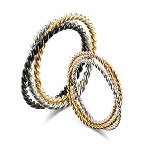 Titanium Steel Three ring Spiral Couple Rings Fashion Simple Men and Women Accessories Jewelry Unisex Finger anillo 2482 Y2