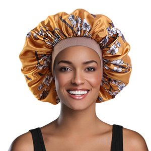 Satin Peach Blossom Night Sleep Cap Hair Care Beauty Bonnet Hat Colored Elastic Round Cap Imitation Silk Turban Cap 1Piece