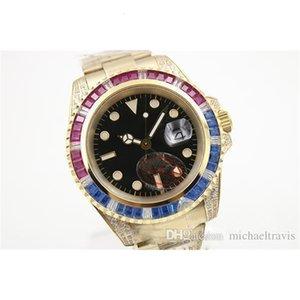 2021 뜨거운 판매자 블랙 다이얼 골든 스테인레스 벨트 Whatches 파란색과 빨간색 다이아몬드 Irab Bezel Watch Mens 패션 손목 시계