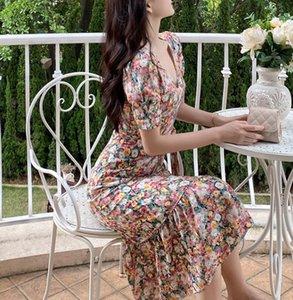 Femmes Robe en mousseline de mousseline 2021 Mode d'été Femme manches courtes Vintage imprimé Floral Robes décontractées V-cou de Vestidos