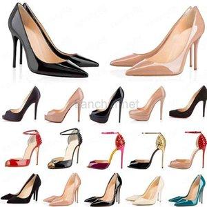 2020 Kırmızı Dipler Moda Yüksek Topuklu Kadınlar Için Parti Düğün Üçlü Siyah Çıplak Sarı Pembe Glitter Spike Sivri Toes Pompaları Elbise Ayakkabı