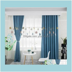 Deco El Supplies Home Gardenchildrens Room Dream Starry Sky Curtain Embroidered Applique Blackout Curtains For Living Room, Dining And Bedro