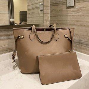Tote Shopper Bag Women Handbags Wallet 2pcs Set Composite Shoulder Bags Embossed Fashion Letter Genuine Leather Large Capacity Package Lady Totes