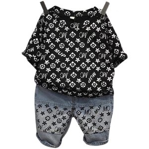 Children Summer Boys' Suit Letters Printed Lovely Baby Tracksuit Short-sleeve Top Tee+ Pants Two-piece Outfits Clothes Casual Sets G55BXWB