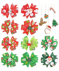 10 Colors Girl Christmas Hair Bows 3.1 inch Bow Boot Lucky Deer Santa Clauss Design Baby Girls Elegant Clippers Kids Accessory Gift