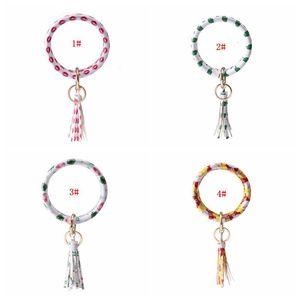 8 Styles Christmas Bracelet Keychain PU Leather Wrist Key Ring Tassel Pendant Wristbands Sports Keychain Bracelets Print Bangle DBC BH3214