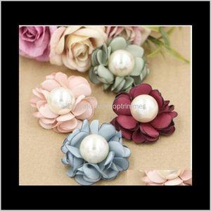 120Ps Latest Burned Satin Handmade Headwear Flower Headbands Flowers With Pearl Center For Boutique Hair Accessories Fnip0 8A1W9