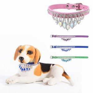 Bling Diamond Dog Collar Adjustable Rhinestone Pendant Necklace Collar Fashion Gemstone Cat Collars Accessories