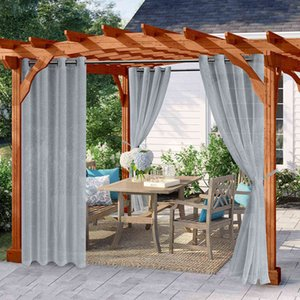 Summer Thermal Insulated Tulle Lawn Curtain Waterproof Breathable Voile Sheer Divider Outdoor Curtains Gardeen Patio Treatment 210712