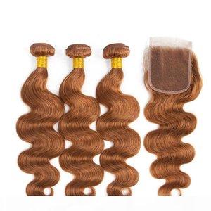 Virgin Brésilien Medium Auburn Cheveux humains Teins avec fermeture 4pcs Lot Body Wave # 30 Fermeture de dentelle 4x4 clair 4x4 avec 3 offres de forfaits