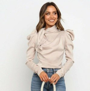 Fashion Women Womens Shirts Satin Blouses Bow Neck Long Sleeve Elegant Blouse Office Lady Female Blusas S XL
