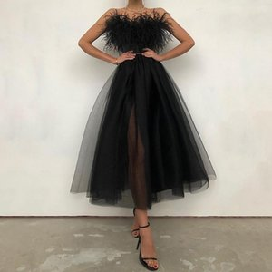 Summer Trendy Women Off Shoulder Strapless Feather Detail Sheer Mesh Sleeveless Female Wedding Wear Robes Black Long Dress Casual Dresses
