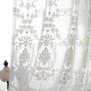 Luxury Europe White Cotton Linen Curtains For Kitchen Fabric Tulle Bedroom Embroidered Sheer Curtain Living Room & Drapes