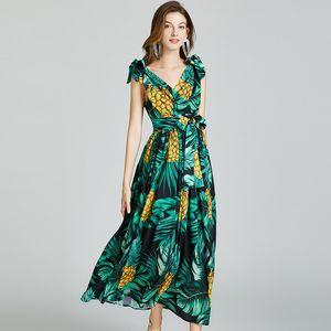 Bandaj Bow Moda Yaz Elbise 2021 Kadınlar Sliming İmparatorluğu Baskı Maxi vestidos ile Beach Holiday Elbise V Yaka
