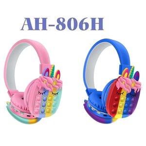 AH-806H Headphones New Cute Rainbow earphones Bluetooth Stereo Headset Ultra-long Standby for Children
