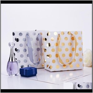 Wrap Event Festive Party Supplies Home Garden Drop Delivery 2021 Paper Gold Sier Metallic Dots With Ribbon Handles Small Gift Bags For Bridal