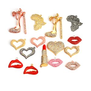 1pc Component Charms lipstick heart high heel shoe lip and map for DIY Women Jewelry