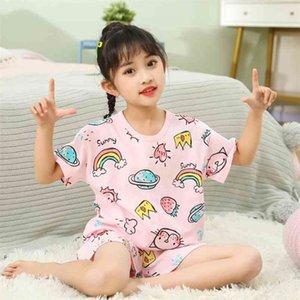 Boys Girls Pajamas Summer Short Sleeve Children's Clothing Sleepwear Cotton Pyjamas Sets For Kids 2 4 6 8 10 12 Years 210915