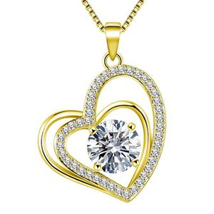 Japanese and Korean All-Matching Graceful Pendant Hot-Selling New Products Heart-Shaped Full of Diamond Smart Heart-Shaped Necklace Valentin